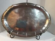 Vintage Large Heavy Mexican Sterling Silver Tray Platter Unmarkedacid Tested.