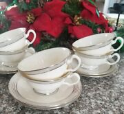 Vintage Lenox China Sets 6 Footed Coffee/tea Cup And Saucer.sign 2539/j332 Mint