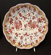 Vintage Set Of 2 Deruta Majolica Rooster Hanging Scalloped Bowls Plates Italy