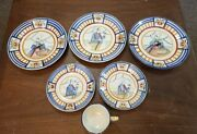 Vintage French Quimper Pottery - Apple Pattern Tea Cup And Plates Lot
