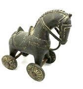 Indian Cast Bronze Wheeled Horse Pull Temple Toy Brass Trojan 19th Century
