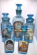 Twos Company French Style Blue Glass Perfume Repro Vintage Bottle Set Of 5