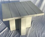 Vintage Rustic Modern Style Wood And Ceramic Side Accent Lamp Table White Paint