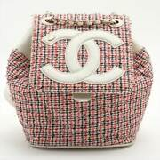 Coco Mark Tweed X Leather Chainbackpack Multicolor Gold Metal 27 Series