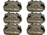 6 Large Deco Cabinet Handles Solid Brass Furniture Antiques Age Old Style 110mmb