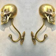 2 Large Skull Hooks Polished Hollow Real Brass Old Style Day The Dead 6 Long B