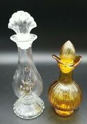 Set Of 2 Avon Perfume Bottles. Gold Angel Fish And Shell Design And Amber Bottle