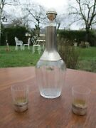 Antique French Sterling Silver Cut Glass Liquor Bottle And 2 Shot Glasses Xixth C