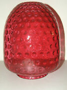 Antique Large 12 1/4 Victorian Cranberry Glass Gwtw Banquet Shade - 6 Fitter