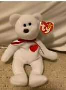 Mint 1993 Retired And Rare Brown Nose Valentino The Bear - Ty Beanie Babyandnbsp