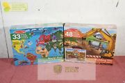 Melissa And Doug Building Site Jumbo Floor Puzzle 48pc And World Map 33pc Lot X2