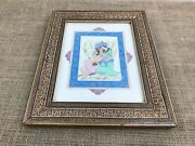 Chinese Hand Painted Lovers Clinch Picture Painting In Beautiful Ornate Frame