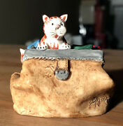 Vintage Tabby Cat Kitty Scotland Doctors Gladstone Travel Bag Hand Painted Fagan