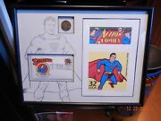 Superman Stamp And Coin Collector Set Lithograph W/ Coa Warner Brothers Gallery