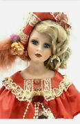 Beautiful Vintage One Of A Kind Porcelain Music Doll Bust Woman Lace Flowers
