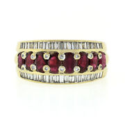 Vintage 18k Yellow Gold Oval Ruby And Baguette Diamond Wide Statement Band Ring