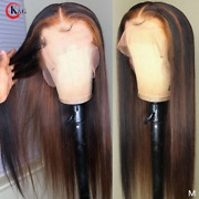 Brazilian Human Hair Wig Straight Beautiful Non-deep Part Lace Front Easy Care
