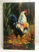 Original Oil On Canvas Painting Janet Rucker Rr Rooster
