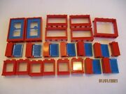 Vintage Lego Shutters Blue And Hinges Red For Windows