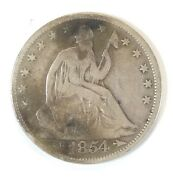 1854 50c Seated Half Dollar With Arrows 90 Silver Collectible Coin