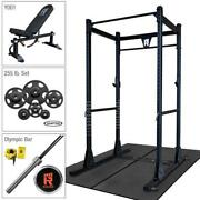 Rugged Power Rack Package With 255 Lb. Hampton Plate Set Weight Bench Oly Bar