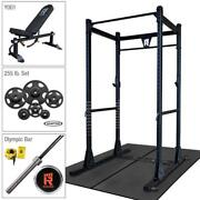 Rugged Power Rack Package With 255 Lb. Hampton Plate Set, Weight Bench, Oly Bar