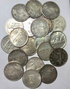 1936 - 1967 Canada Silver Dollars Roll Of 20 Circulated 800 Fine Silver
