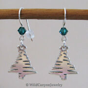 Sterling Silver Christmas Tree Earrings With Green Crystals