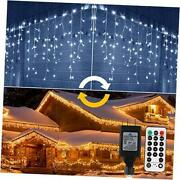 Icicle Lights Outdoor, 440 Led Color Changing Warm To Cool White Christmas