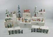 12 Boxed Sets Of Dept. 56 Heritage/snow Village Accessories Trees,people,scenery