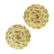 Solid 14k Yellow Gold Rope Spiral Concentric Wrap Large Button Clip On Earrings