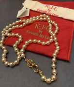 Kjl Kenneth Jay Lane Faux Knotted Pearl 23 Karat Gold Plated Signature Necklace