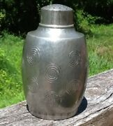 Liberty And Co. English Pewter Hand Made Shaker W/swirls Arts And Crafts Hammered