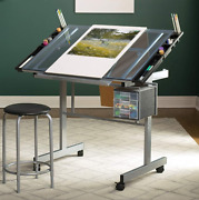 Drafting Table Set Glass Drawing Hobby Rolling Craft Professional Adjustable Sd