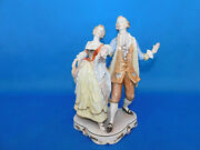 Herend Baroque Noble Man And Woman Dancing Figurine Pair Porcelain