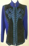 Bob Mackie Wearable Art Suede Sweater Jacket Xl Blue Black Leather Embroidered