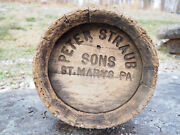 Antique Peter Straub And Sons Wooden Keg Beer Barrel St Maryand039s Pa Pre-prohibition