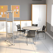 Transparent Acrylic Mobile Partition With Lockable Casters 3 Sections Included