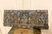 Ancient Rare South India Wooden Fine Carved Hindu God Figure Door Panel 24 X 10