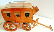 Vtg Wells Fargo And Co Stagecoach Wood Display Model Toy Lg Movable Wheels And Hitch