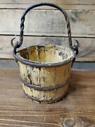 Small Primitive Antique Bucket Pail Yellow Paint Wooden Wood Metal Handle Rustic