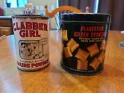 Pair Of Vintage Kitchen Food Time Cans Clabber Girl And Plantation Golden...