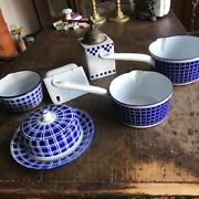 7 Piecesrare Blue And White Plaid Check Graniteware Enamelware Private Collection