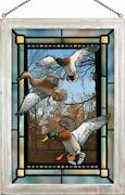 David A Maass Greenhead Haven Mallards Framed Stained Glass Window Panel