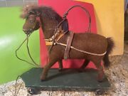 Vintage Early 1910-20andrsquos German Pull String Toy With Horse Era Cast Iron Wheels