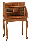 Amish Small Rolltop Secretary Writing Desk Office Furniture Solid Wood Cherry