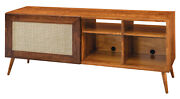 Amish Mid Century Modern Tv Cabinet Console Furniture Solid Wood Brown Maple