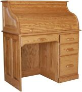 Amish Rolltop Writing Computer Desk Home Office Furniture Oak Solid Wood New