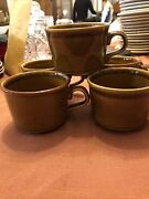 5 Vintage Usa Stoneware Tan / Light Brown Speckled Mugs Cups