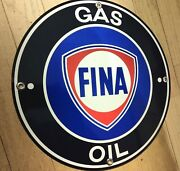 Fina Gas Oil Gasoline Sign .. Free Shipping On Any 8 Signs